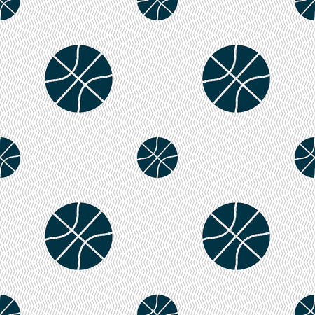 Basketball icon sign. Seamless pattern with geometric texture. Vector illustration