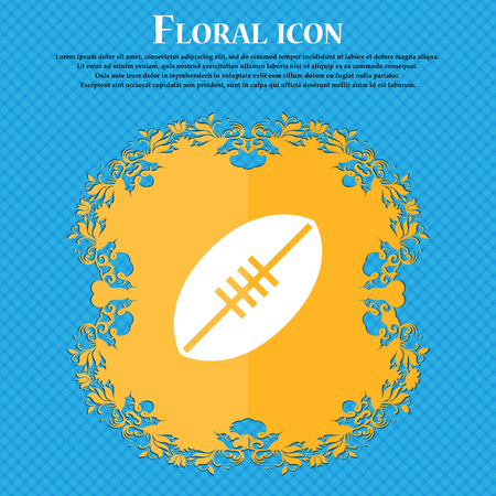 American Football icon icon. Floral flat design on a blue abstract background with place for your text. Vector illustration