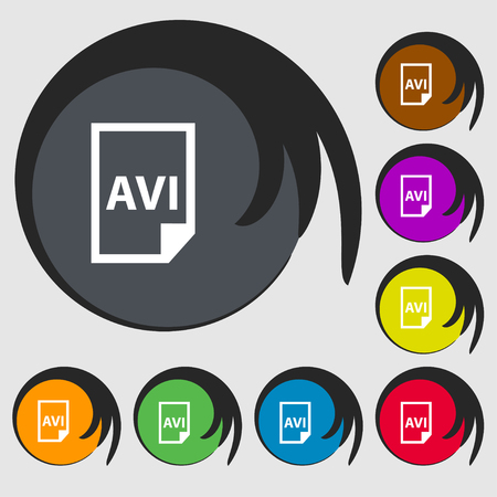 avi: AVI Icon sign. Symbols on eight colored buttons. Vector illustration