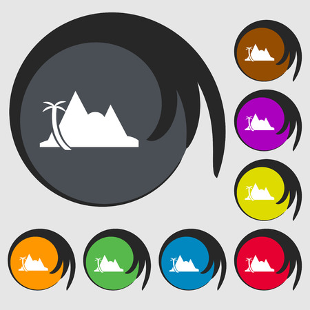 a mirage: Mirage icon sign. Symbols on eight colored buttons. Vector illustration
