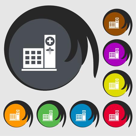 Signe d'icône de l'hôpital. Symboles sur huit boutons de couleur. Illustration vectorielle