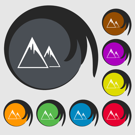 snow capped: Mountain Icon sign. Symbols on eight colored buttons. Vector illustration Illustration