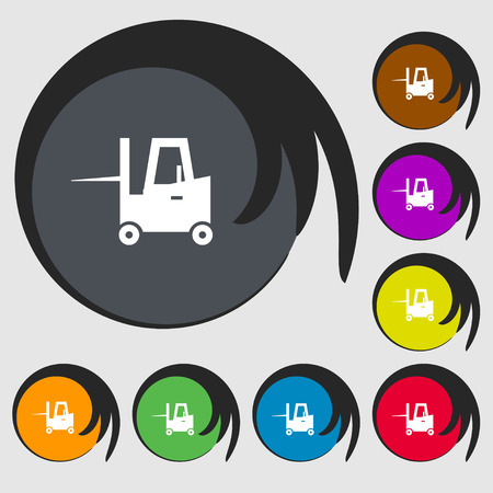 sub: Forklift icon sign. Symbols on eight colored buttons. Vector illustration