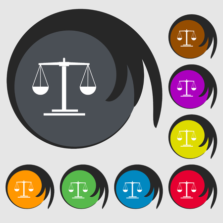 acquittal: scales Icon sign. Symbols on eight colored buttons. Vector illustration