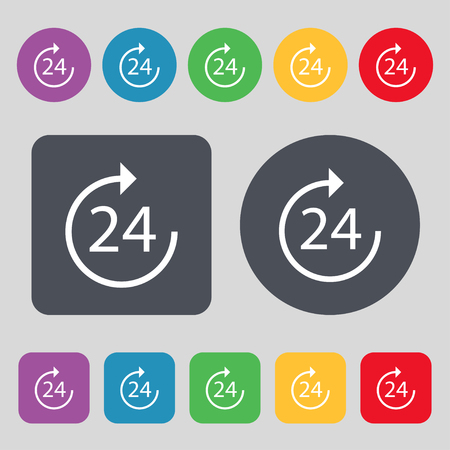 refreshed: TIME 24 Icon sign. A set of 12 colored buttons. Flat design. Vector illustration Illustration