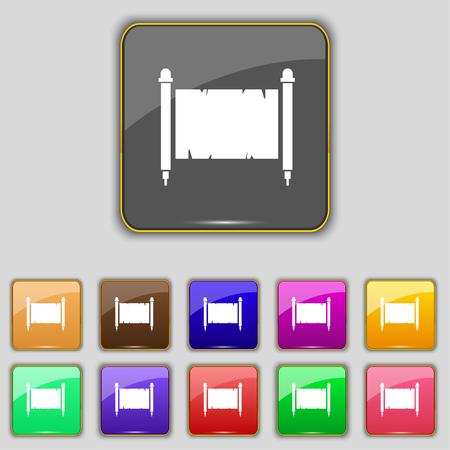 Altes Pergament Blatt Papier zu unterzeichnen. Set mit elf farbigen Tasten für Ihre Website. Vektor-Illustration Vektorgrafik