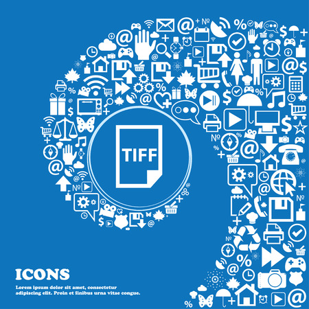 file types: TIFF Icon. . Nice set of beautiful icons twisted spiral into the center of one large icon. Vector illustration