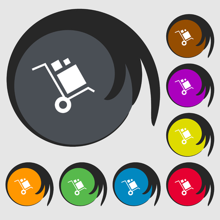 loader Icon sign. Symbols on eight colored buttons. Vector illustration