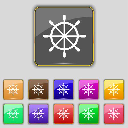 guidance: ship steering wheel icon sign. Set with eleven colored buttons for your site. Vector illustration
