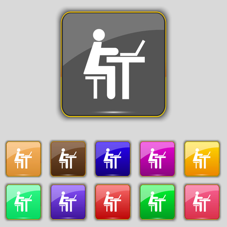 looking at computer screen: Businessman working on computer icon sign. Set with eleven colored buttons for your site. Vector illustration
