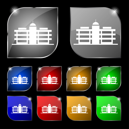 headquarters: Business center icon sign. Set of ten colorful buttons with glare. Vector illustration Illustration
