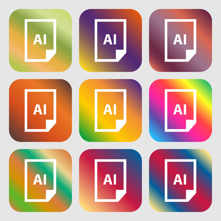 ai: file AI icon . Nine buttons with bright gradients for beautiful design. Vector illustration Illustration