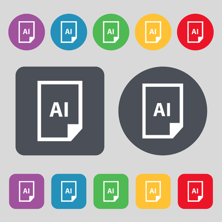 htm: file AI icon sign. A set of 12 colored buttons. Flat design. Vector illustration Illustration