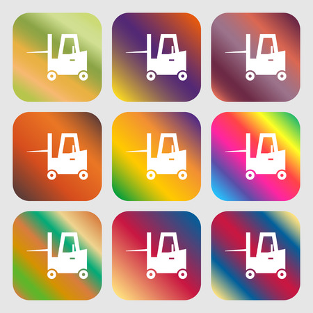 shipper: Forklift icon . Nine buttons with bright gradients for beautiful design. Vector illustration