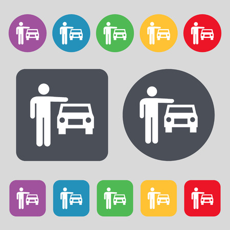 person up hailing a taxi icon sign. A set of 12 colored buttons. Flat design. Vector illustration