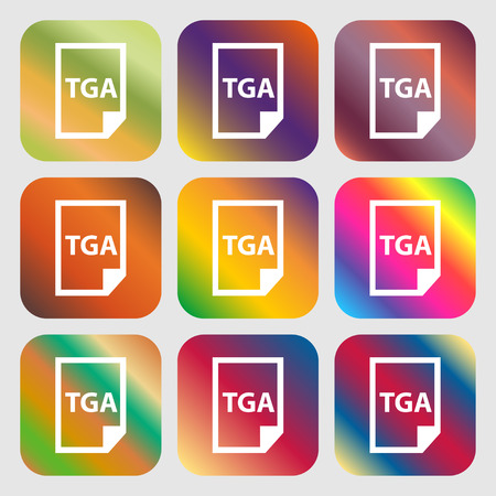 file types: Image File type Format TGA icon . Nine buttons with bright gradients for beautiful design. Vector illustration