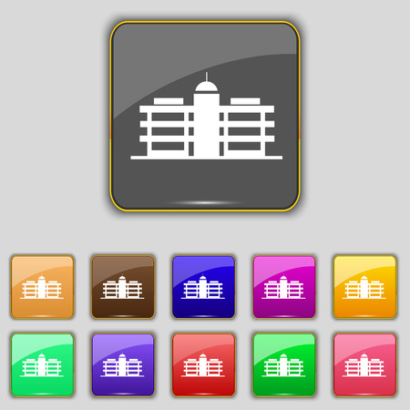 headquarters: Business center icon sign. Set with eleven colored buttons for your site. Vector illustration Illustration