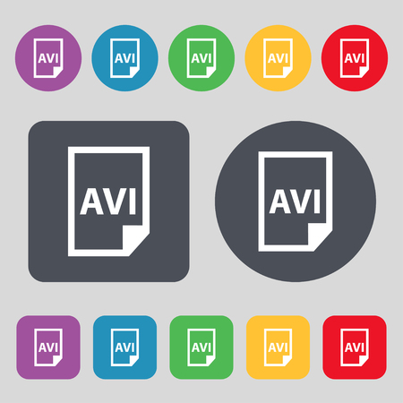 avi: AVI Icon sign. A set of 12 colored buttons. Flat design. Vector illustration