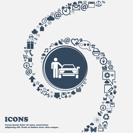 hail: person up hailing a taxi icon in the center. Around the many beautiful symbols twisted in a spiral. You can use each separately for your design. Vector illustration Illustration