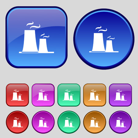atomic power station icon sign. A set of twelve vintage buttons for your design. Vector illustration Illustration