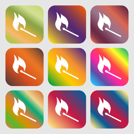 smoke alarm: burning match icon . Nine buttons with bright gradients for beautiful design. Vector illustration Illustration