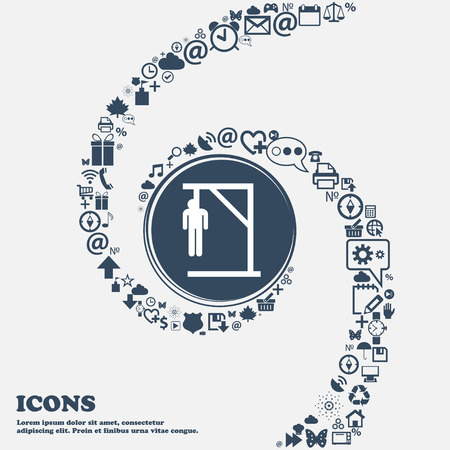 dead end: Suicide concept icon in the center. Around the many beautiful symbols twisted in a spiral. You can use each separately for your design. Vector illustration