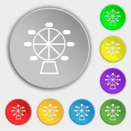 hillock: Ferris wheel icon sign. Symbol on eight flat buttons. Vector illustration