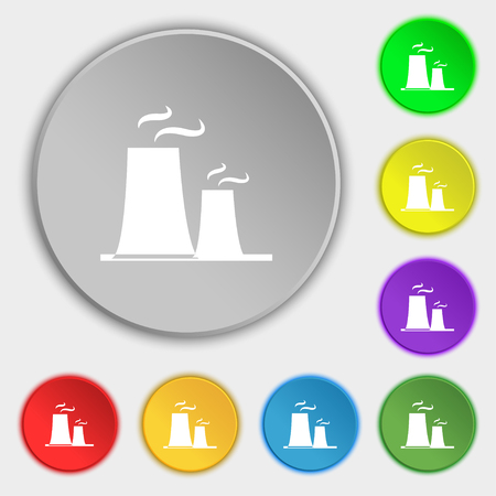 atomic power station icon sign. Symbol on eight flat buttons. Vector illustration