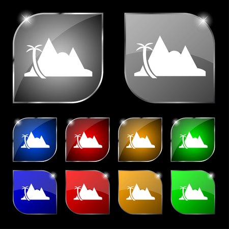 mirage: Mirage icon sign. Set of ten colorful buttons with glare. Vector illustration