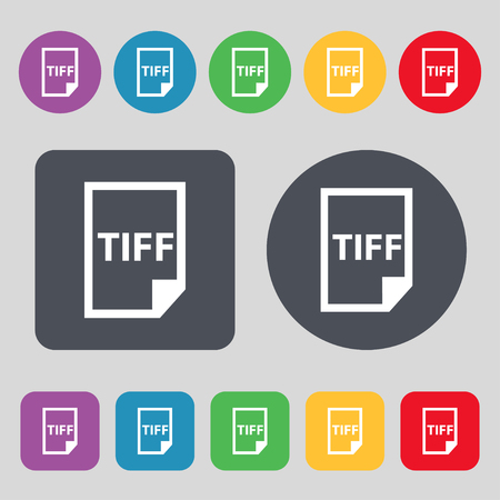 tiff: TIFF Icon. sign. A set of 12 colored buttons. Flat design. Vector illustration