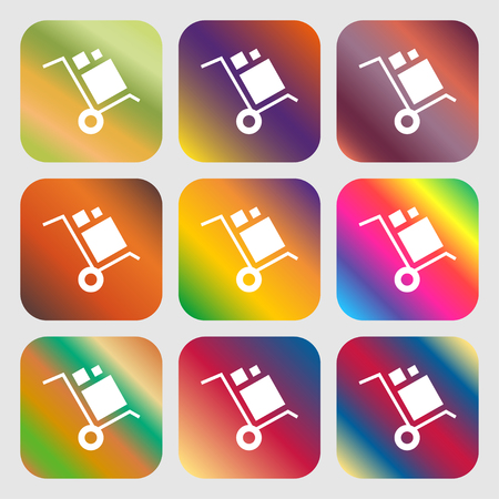 work crate: loader Icon . Nine buttons with bright gradients for beautiful design. Vector illustration