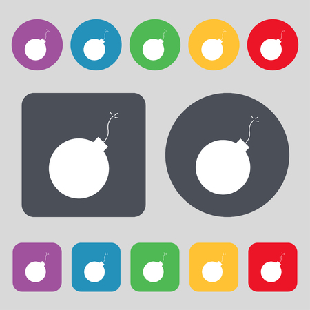 bombing: bomb icon sign. A set of 12 colored buttons. Flat design. Vector illustration