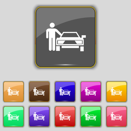 hail: person up hailing a taxi icon sign. Set with eleven colored buttons for your site. Vector illustration