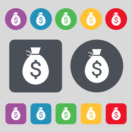 billing: Money bag icon sign. A set of 12 colored buttons. Flat design. Vector illustration