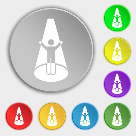 strobe light: Spotlight icon sign. Symbol on eight flat buttons. Vector illustration Illustration