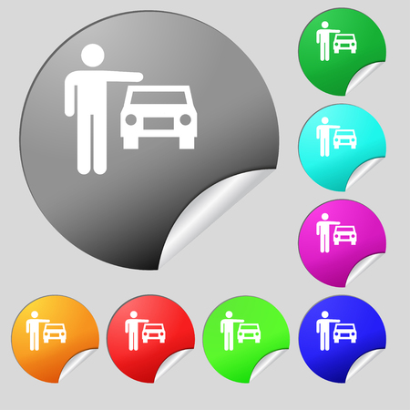 person up hailing a taxi icon sign. Set of eight multi colored round buttons, stickers. Vector illustration Illustration