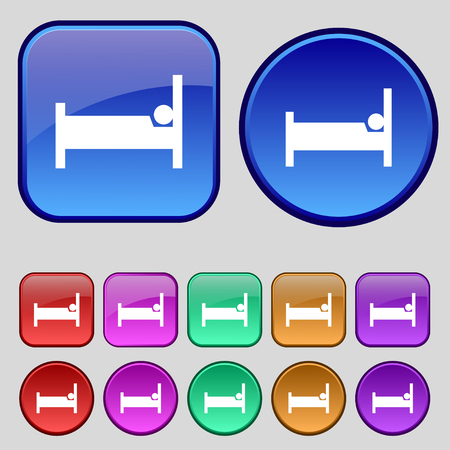 sleeper: Hotel Icon sign. A set of twelve vintage buttons for your design. Vector illustration