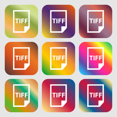 tiff: TIFF Icon. . Nine buttons with bright gradients for beautiful design. Vector illustration