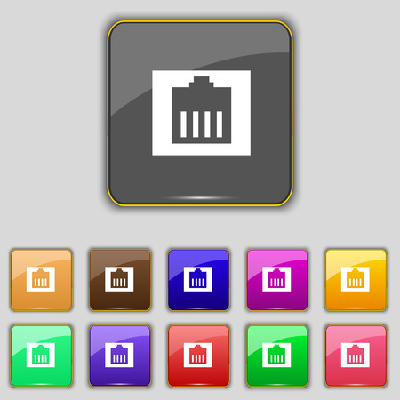 cat5: Internet cable, RJ-45 icon sign. Set with eleven colored buttons for your site. Vector illustration Illustration