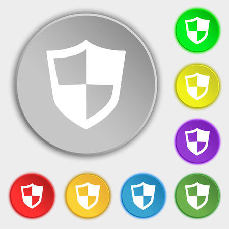 honour guard: shield icon sign. Symbol on eight flat buttons. Vector illustration