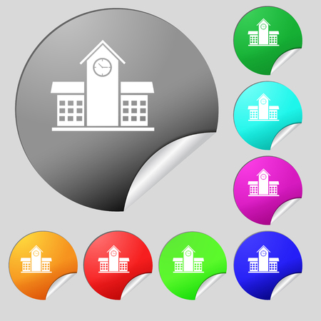 post office building: School Professional Icon sign. Set of eight multi colored round buttons, stickers. Vector illustration