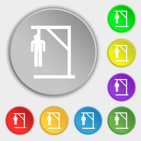 betrayal: Suicide concept icon sign. Symbol on eight flat buttons. Vector illustration