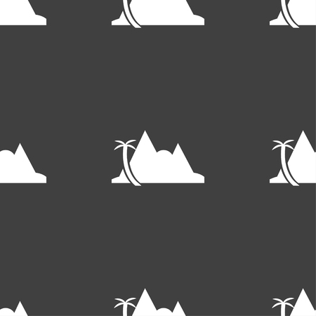 a mirage: Mirage icon sign. Seamless pattern on a gray background. Vector illustration Illustration