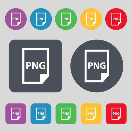 png: PNG Icon sign. A set of 12 colored buttons. Flat design. Vector illustration