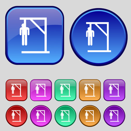 coward: Suicide concept icon sign. A set of twelve vintage buttons for your design. Vector illustration