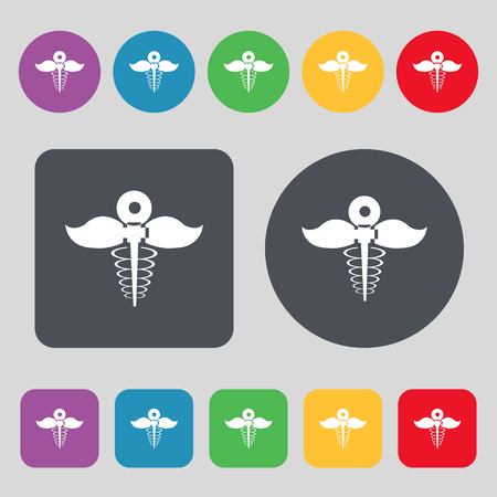 take  care: Health care icon sign. A set of 12 colored buttons. Flat design. Vector illustration