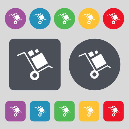 sear: loader Icon sign. A set of 12 colored buttons. Flat design. Vector illustration