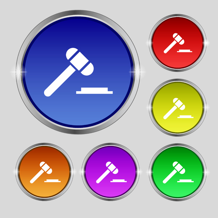 juridical: judge or auction hammer icon sign. Round symbol on bright colourful buttons. Vector illustration
