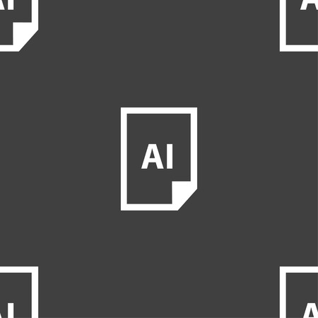 psd: file AI icon sign. Seamless pattern on a gray background. Vector illustration Illustration