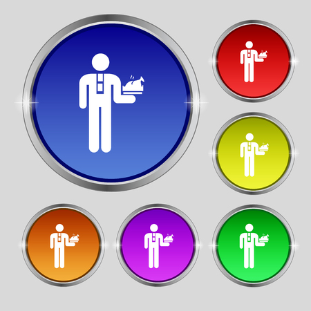 Waiter icon sign. Round symbol on bright colourful buttons. Vector illustration Illustration